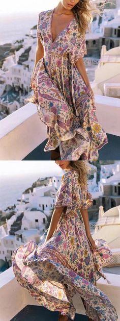 01f19e9e1c6  45.99 Plunge Floral Print Bohemian Dress  boho Maxi Outfits