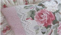 Vintage Pink Barkcloth Roses~COTTAGE CHIC PILLOW~w/ Laura Ashley & Crochet Lace