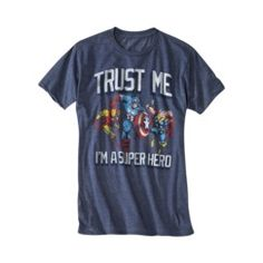 Trust Me Super Hero Men's Graphic Tee - Navy Heather
