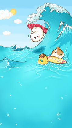 Molang in Summer Cute Wallpaper Backgrounds, Wallpaper Iphone Cute, Cute Cartoon Wallpapers, Kawaii Anime, Chibi Kawaii, Doodles Kawaii, Cute Doodles, Kawaii Illustration, Cute Kawaii Animals