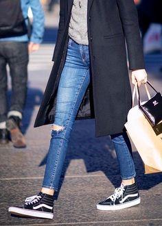 vans sk8 hi with baggy jeans