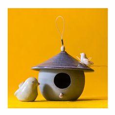 Casinha de passarinho de cerâmica