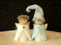 little angel wood peg dolls Angel Crafts, Felt Crafts, Holiday Crafts, Angel Ornaments, Felt Ornaments, Christmas Ornaments, Waldorf Crafts, Waldorf Dolls, Christmas Gnome