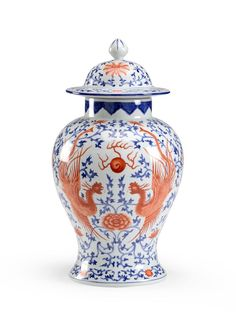 Chinese Blue and Rust Pheasant Porcelain Vase - LOW STOCK,ORDER NOW