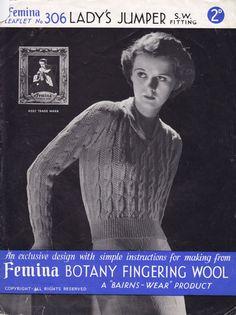 vintage ladies knitting pattern 1930s jumper pattern