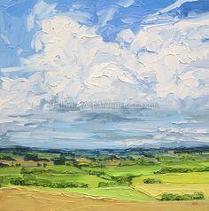 Distant Showers by h.w dixon- English landscape (impasto painting, palette knife)-SOLD