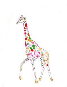 Newly Domesticated: Watercolor Giraffes, Berries and Bow Ties