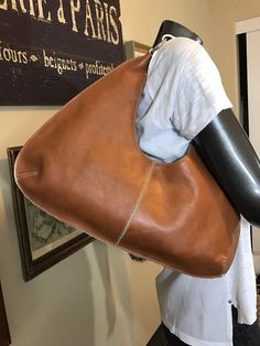 Banana Republic Cognac Brown Leather Hobo Shoulder Handbag Med Mint  | eBay