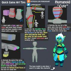 """Quick Game Art Tips - Humanoid """"Cute"""" 3d Model Character, Character Modeling, Character Design, 3d Modeling, 3d Max Tutorial, Concept Art Tutorial, Unity Tutorials, Art Tutorials, Zbrush"""