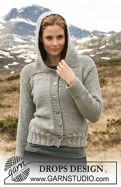 Basic patterns - Free knitting patterns and crochet patterns by DROPS Design Diy Crochet And Knitting, Double Knitting, Knitting Patterns Free, Free Knitting, Crochet Jacket, Knitted Poncho, Knit Jacket, Hooded Cardigan, Cardigan Pattern