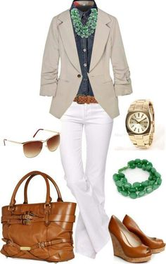 Don't like the shirt, but my tan blazer would be super cute with white pants like that and maybe a navy blouse