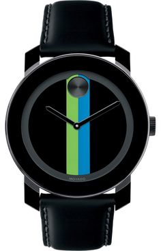 Movado Bold - Large Movado BOLD watch, 42mm black TR90 composite material and stainless steel case, black dial with lime/aqua stripe, black sunray dot and hands, coated black leather strap with purple lining and black ion-plated stainless steel buckle, K1 crystal, Swiss quartz movement, water resistant to 30 meters.