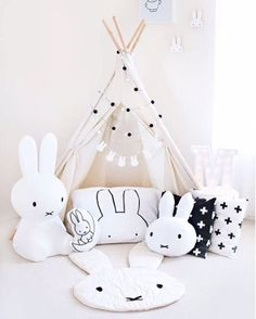 Oh Miffy you are so fine! We this Miffy monochrome theme play area! Available in XL and SMALL! to enjoy door to door delivery for Miffy! credit missmia_and_me mrmariadesign Nursery Room, Nursery Decor, Bedroom Decor, Bedroom Ideas, Girl Room, Girls Bedroom, White Bedroom, Monochrome Nursery, Miffy