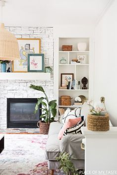 You have to see this #farmhouse living room decor idea with built-in shelves. Love it! #HomeDecorIdeas #LivingRoomIdeas