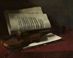 Francois Bonvin Still Life with Violin Oil Painting