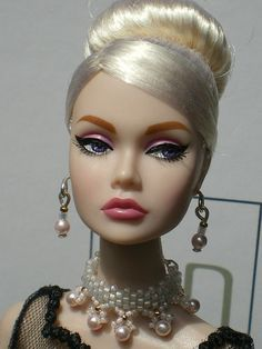 ooak jewelry set for Poppy Parker, FR dolls with Swarovski pearls