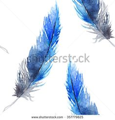 Watercolor black blue jay feather seamless pattern texture background