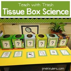 The students must guess what is in the box by using their senses (not sight). Great for science as well as inferring!