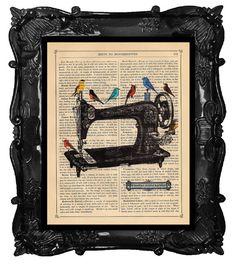 Upcycled Book Print Vintage Art Print A Singers Sewing Machine