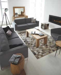 Canada's Best Furniture & Home Decor Store Condo Living Room, Home Living, Living Room Interior, Living Rooms, Trunk Side Table, Patchwork Rugs, Patchwork Ideas, Stylish Home Decor, Home Decor Store