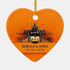 Wedding Ornament - Halloween Love Halloween Ornaments, Halloween Gifts, Halloween Themes, Happy Halloween, Orange Wedding Invitations, Wedding Ornament, Great Wedding Gifts, Halloween Patterns, Heart Ornament