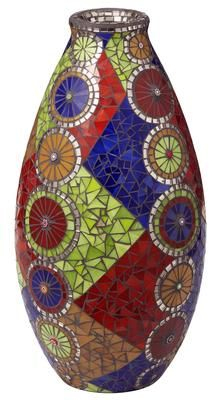"Mosaic Harlequin Fruit Vase by Laurie Glynn: Covered with brightly colored glass in orange, red, green & blue & filled with charcoal grout. Smoke-colored mirror surrounds the mouth of the vase & each of the ""fruit slices"" / Kunst-Hand-Werk Atelier"