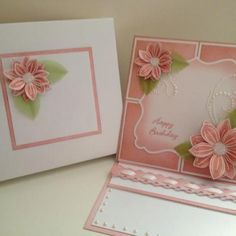 Distressed and stamped card using the flower stamp from Chloe's Creative Cards range.