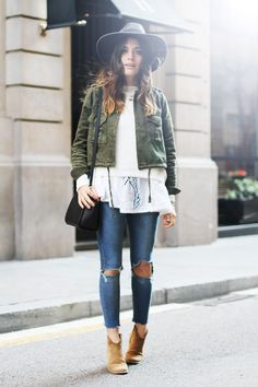 Wide rim hat, green jacket, flowy boho top, ripped jeans & ankle boots #style #fashion