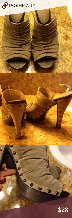 Guess studded heel tan suede size 7.5 Sexy tan suede studded high heel by Guess size 7.5 GUESS Shoes Heels