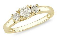 1/2 Carat 3-Stone Diamond 14K Yellow Gold Anniversary Ring