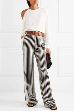 Ivory crepe Concealed hook and zip fastening at back triacetate, polyester; Jennifer Fisher, Marni, Savannah Chat, Victoria Beckham, Cold Shoulder, Ivory, Skirts, Pants, Casual Outfits