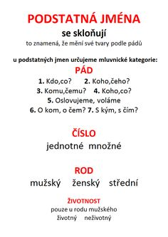 PODSTATNÁ JMÉNA, slovesa.docx Language, Teaching, Education, School, Cuba, Speech And Language, Learning, Language Arts
