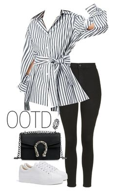A fashion look from March 2018 featuring striped shirt, Bershka and high rise jeans. Browse and shop related looks. Fashion Line, Fashion Moda, Fashion 2018, Womens Fashion, Cool Outfits, Casual Outfits, Summer Outfits, Fashion Outfits, Complete Outfits