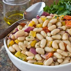 white bean and roasted vegetable salad