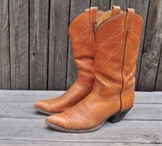 Mens Tony Lama Black Label Tan Brown Leather Cowboy Boots 12 D Western Wear USA #TonyLamaBlackLabel #CowboyWestern