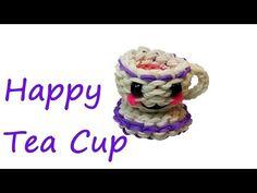 Happy Tea Cup Tutorial by feelinspiffy (Rainbow Loom). Eeeeeeeek... So cute!!!!