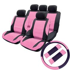 Car Seat Cover Set - Black & Pink Leather Look Inserts - Split Rear Seat & Airbag OK + Steering Wheel Cover & Harness Pads
