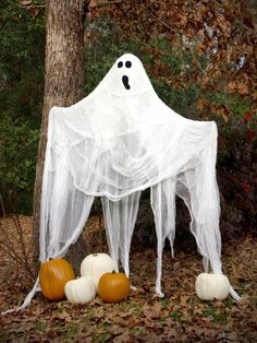 Create a life-size ghost for Halloween using inexpensive items. Hang it from a tree or place it on your front porch so passersby will shake in their boots.