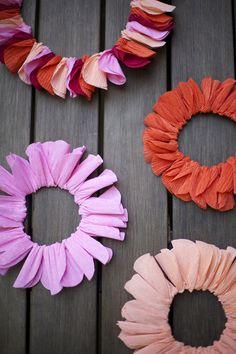 Crepe paper wreaths | A Subtle Revelry.