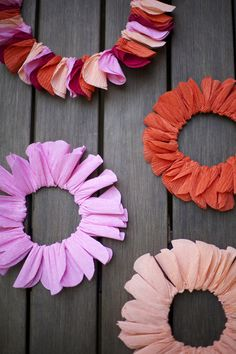 Crepe paper twist wreaths