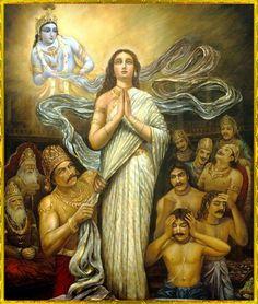 "Draupadi prays to Krishna: ""Krishna!"" she cried. ""O Govinda! O Keshava! Krishna Leela, Krishna Radha, Indian Art Paintings, Ravivarma Paintings, Lord Krishna Images, Krishna Painting, India Art, Hindu Deities, Indian Gods"