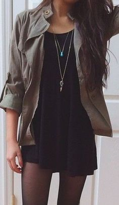 fall outfit ideas / olive bomber jacket + black dress