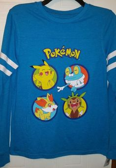 e55e3355 Pokemon Boys T-Shirt New blue teal Officially Licensed Long Sleeve 14-16,