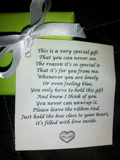 So I work in a nursing home and one of my residents gave me this little box with the sweetest poem! Such a sweet gift and I thought I would share the idea with my fellow pinners :). Could be used from Alz residents to their family members ! Gag Gifts, Cute Gifts, Craft Gifts, Funny Gifts, Nursing Home Gifts, Nursing Homes, Holiday Crafts, Christmas Crafts, Now Quotes