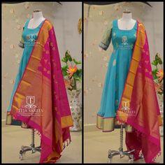 What s new in store anarkali from teja saree. Anarkali Tops, Anarkali Dress, Fancy Blouse Designs, Dress Neck Designs, Indian Gowns Dresses, Indian Outfits, Teja Sarees, Mode Bollywood, Ikkat Dresses