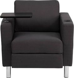 Flash Furniture Fabric Guest Chair in Charcoal (Grey) Gray with Tablet Arm, Tall Chrome Legs and Cup Holder (BT8219GY) $197