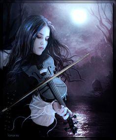 La violinista. Con movimiento.