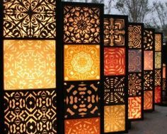 When designing your backyard, don't forget to carefully plan your lighting as well. Get great ideas for your backyard oasis here with our landscape lighting design ideas. Motif Arabesque, Room Divider Screen, Room Dividers, Screen Doors, Room Screen, Dressing Screen, Plafond Design, Mandala, Decorative Screens