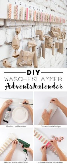 Einfacher DIY Adventskalender mit Wäscheklammern A DIY advent calendar for the pre-Christmas period. Homemade quickly and easily from clothespins and a wooden board. A tutorial from johannarundel. Pre Christmas, Easy Christmas Crafts, Simple Christmas, Christmas Clothes, Christmas Fashion, Homemade Advent Calendars, Diy Advent Calendar, Unique Candles, Diy Candles