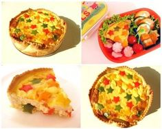 Quiche with red, yellow, orange and green capsicum stars